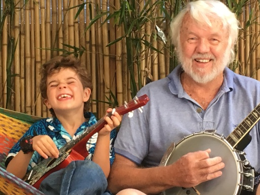 ... with his grandson Felix on the Ukelele